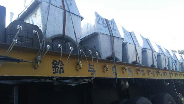 重量物輸送固定用メッキ台付けワイヤ